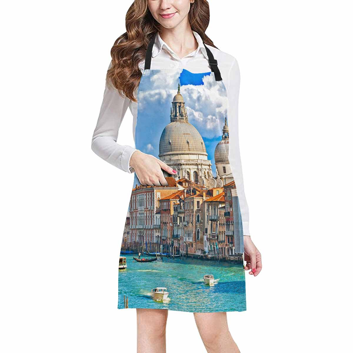 InterestPrint Gondola in Canal Grande Basilica di Santa Maria della Salute in Venice Chef Kitchen Apron, Adjustable Strap & Waist Ties, Perfect for Cooking, Baking, Barbequing, Large Size