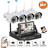 "Swinway Wireless Security Camera System, Home Security Camera System with 4 Wireless Outdoor 960P HD IP CCTV Camera with 48 LEDs Night vision,Easy Remote View,WIFI NVR with 7"" Monitor and 1TB HDD"