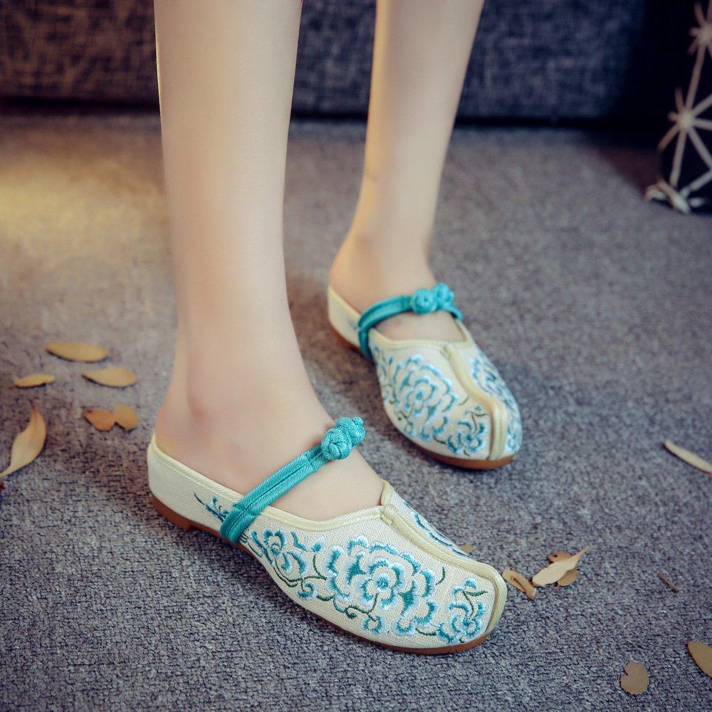 GuiXinWeiHeng xiuhuaxie Chaussures brod¨¦es, semelle tendineuse, style ethnique, flip flop f¨¦minin, mode, confortable, sandales