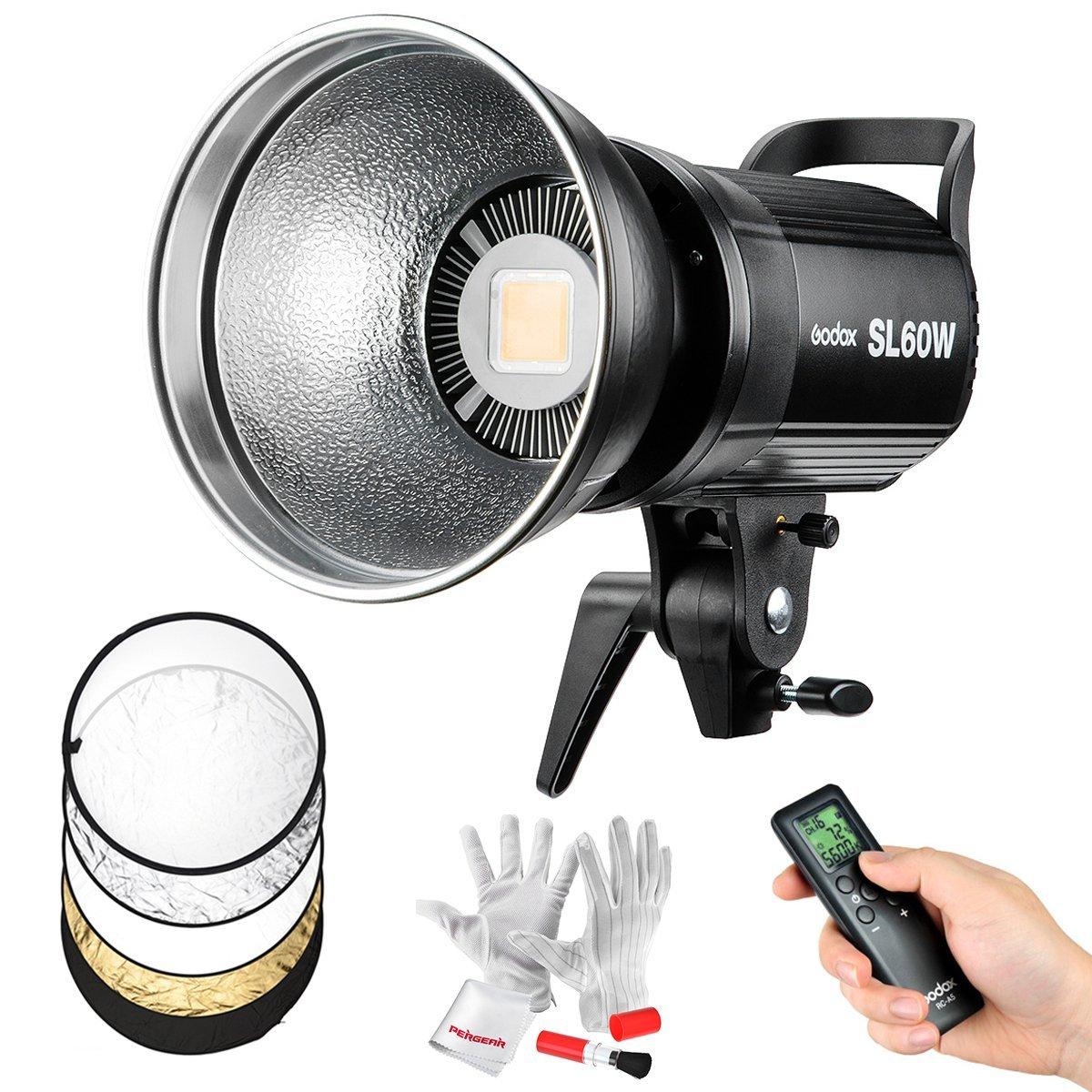 Godox SL-60W 60W CRI95+ Qa>90 5600±300K Bowens Mount High Power Led Continuous Video Light with Large-Sized LCD Panel - Wirelessly Adjust Brightness, 433MHz Grouping System(6 Groups & 16 Channels)