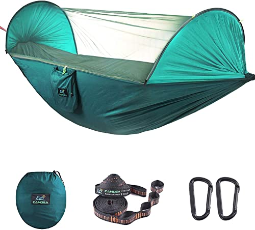 CAMDEA Camping Hammock with Mosquito Net for 2 Person, Ultra Lightweight Portable Camp Single Double Hammock with Bug Net, Windproof Hammock Tent Swing for Sleeping, Garden, Travel, Outdoor, Sport