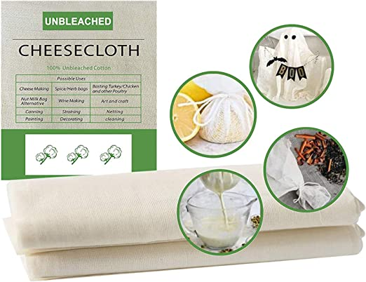 2 paños de muselina para cocinar gasa, 50 x 50 cm y 90 x 90 cm reutilizable ultra fino de algodón orgánico, sin blanquear grado 90 – 100% algodón fino reutilizable tela: Amazon.es: Hogar