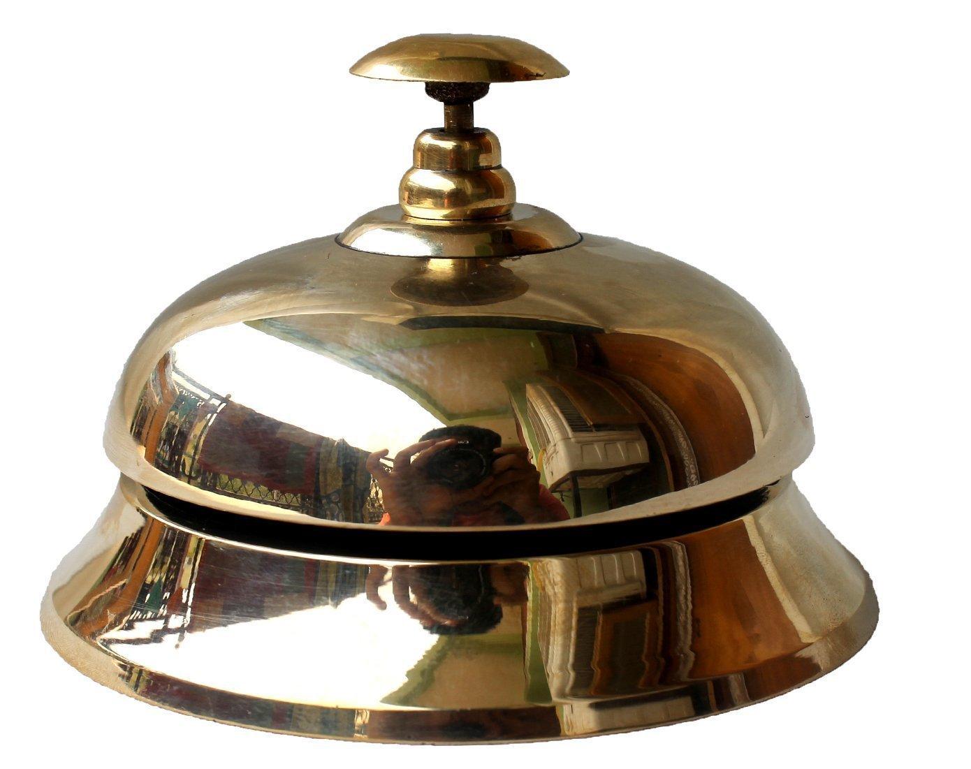 PARIJAT HANDICRAFT Handcrafted Solid Brass Hotel Counter Bell, Officer call bell Ornate Brass Hotel Counter Bell Desk Bell Service Bell for Hotels, Schools, Restaurants, Reception Areas, Hospitals.