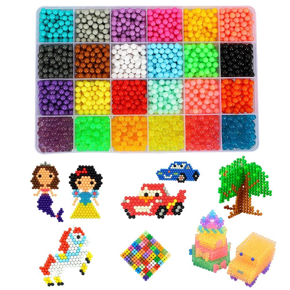 Water Fuse Beads Kit - 24 Colors Mega Bead Set Compatible with Aquabeads and Beados Art Crafts Toys for Kids Over 3200 Classic and Craft Beads Complete Set by ANDYKEN