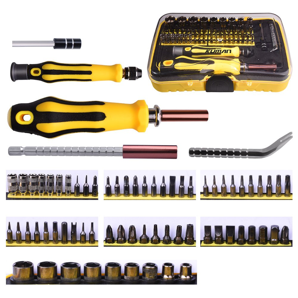 Kuman 70 in 1 Precision Screwdriver Set Professional Kit Portable Magnetic Driver Set Electronic Auto and Homeowner's Tool Kit for Install Repair Maintain Appliances P7100 P7100-Tools-UK