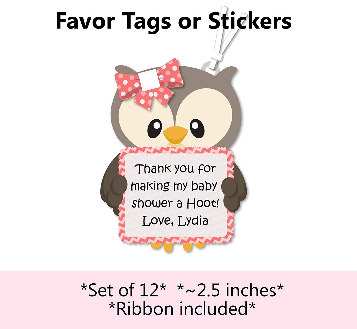 PACK OF 20 LITTLE OWLS NAME STICKERS BABY SHOWER FUN PARTYWARE PARTY TAGS LABELS