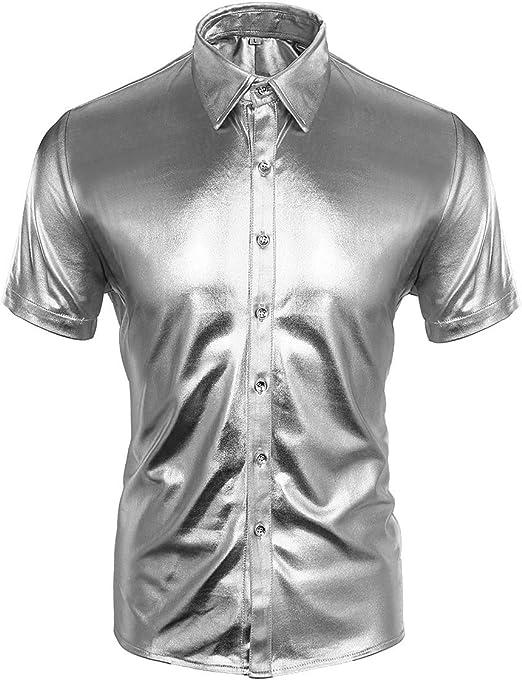 CUSFULL Camisa Hombre con Manga Corta Slim Fit para Fiesta