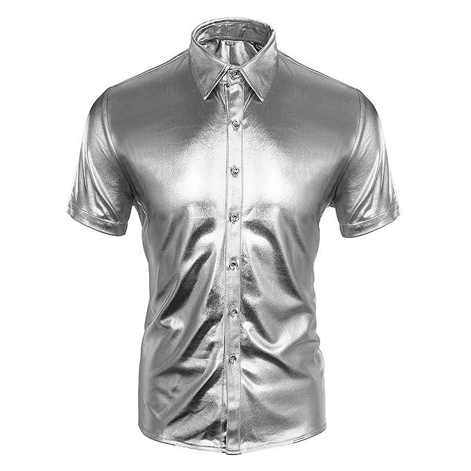 Cusfull - Camisa de hombre slim fit de manga corta para Fiesta/Discoteca.