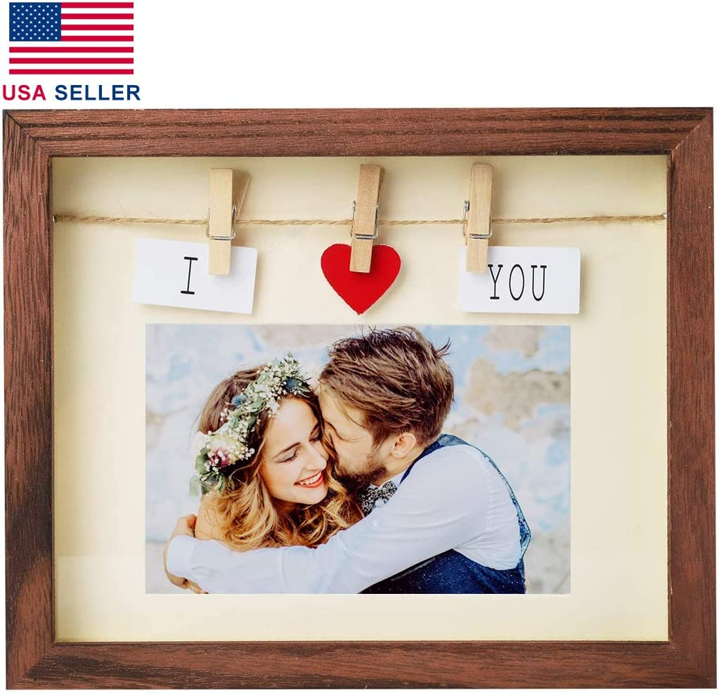 Handmade Picture Frames— Real Solid Wood Shadow Box, Boyfriend Girlfriend Couples I Love You Picture Frame-4 x 6 Photo