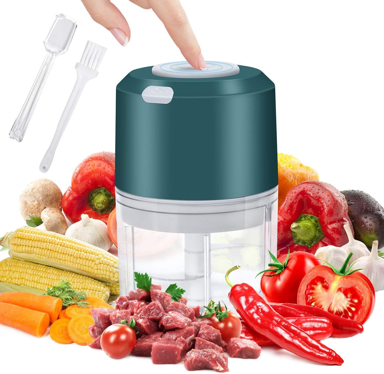 Electric Mini Garlic Chopper, YIKA Portable Food Chopper: Spice Blender Grinder, Easy to Use For Garlic Pepper Meat Nut Fruit, 260ML (Green)