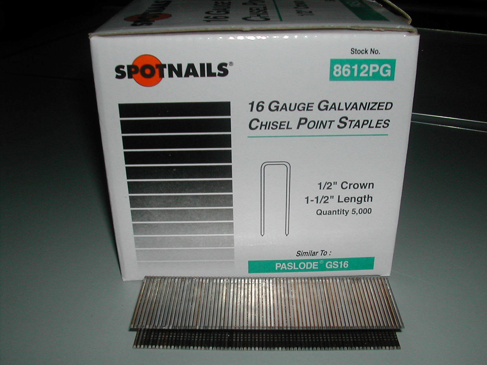 Spot Nails 8612PG-10M 1/2-Inch 16-Gauge Crown Galvanized Paslode Style Sheathing Staple, 10000-Count, 1-1/2-Inch Leg by Spot Nails