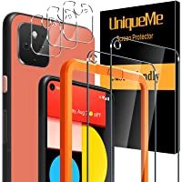 [5 Pack] UniqueMe Screen Protector voor Google Pixel 5 Met 3 Pack Camera Lens Protector en 2 Pack Gehard Glas [Case…