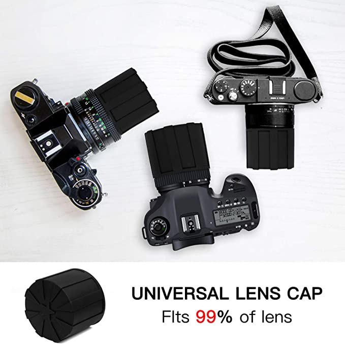 Lens Cap,Universal Waterproof Dustproof Shock Absorbent Silicone Lenses Cover,Professional Camera Lens Protector for 60-110mm DSLR Lenses-2 Packed