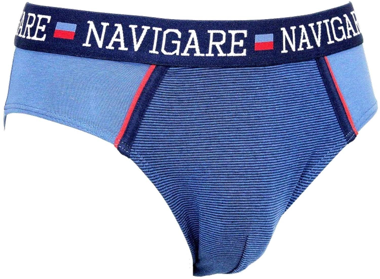 NAVIGARE Underwear Moda Intimo Mutande Slip Uomo Cotone Elasticizzato 6 Pezzi New Model! Art 825Z 4//M