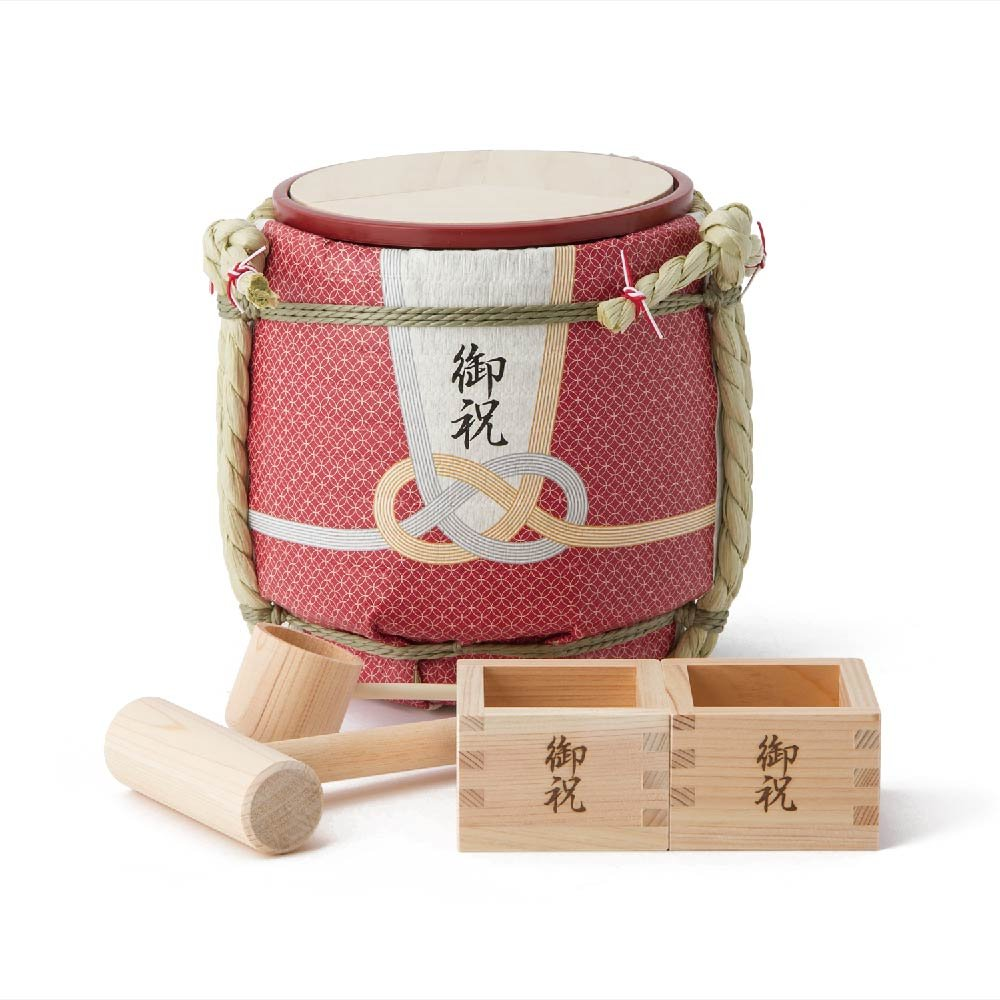 Mini Komodaru Sake-Barrel Set ''Gift from the heart-Okuru kokoro'' by Komodaru
