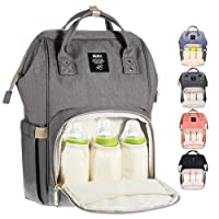 Diaper Bag Multi-Function Waterproof Travel Backpack Nappy Bag for Baby Care with Insulated Pockets, Large Capacity, Durable (Grey)
