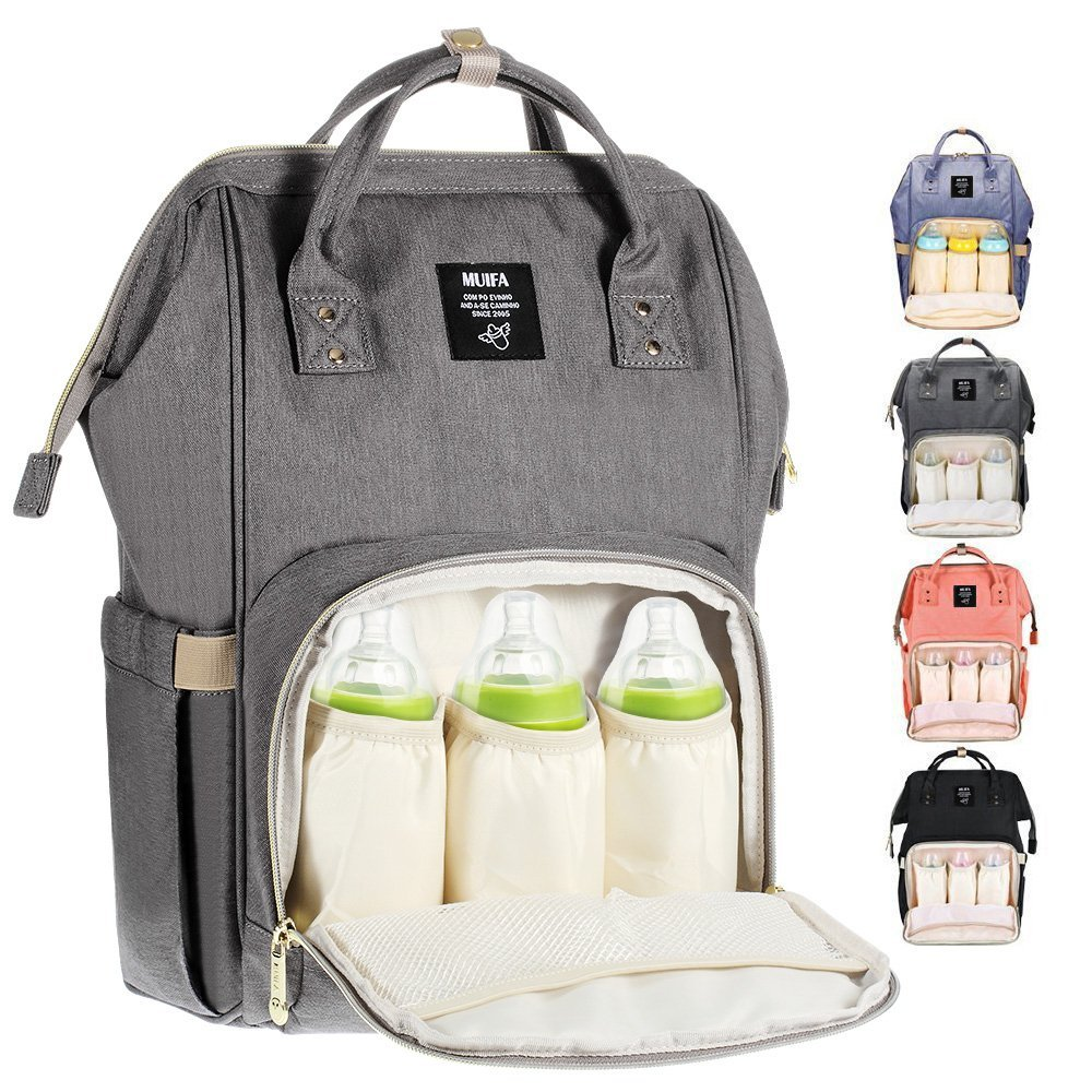 MUIFA Diaper Bag Multi-Function Waterproof Travel Backpack Nappy Bag for Baby Care with Insulated Pockets, Large Capacity, Durable (Grey) product image
