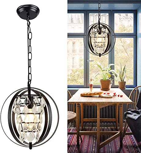Depuley Industrial Metal Pendant Light Fixture, Globe Farmhouse Chandelier Lights, Black Spherical Adjustable Hanging Ceiling Light Fixture for Kitchen, Dining Room, Bedroom