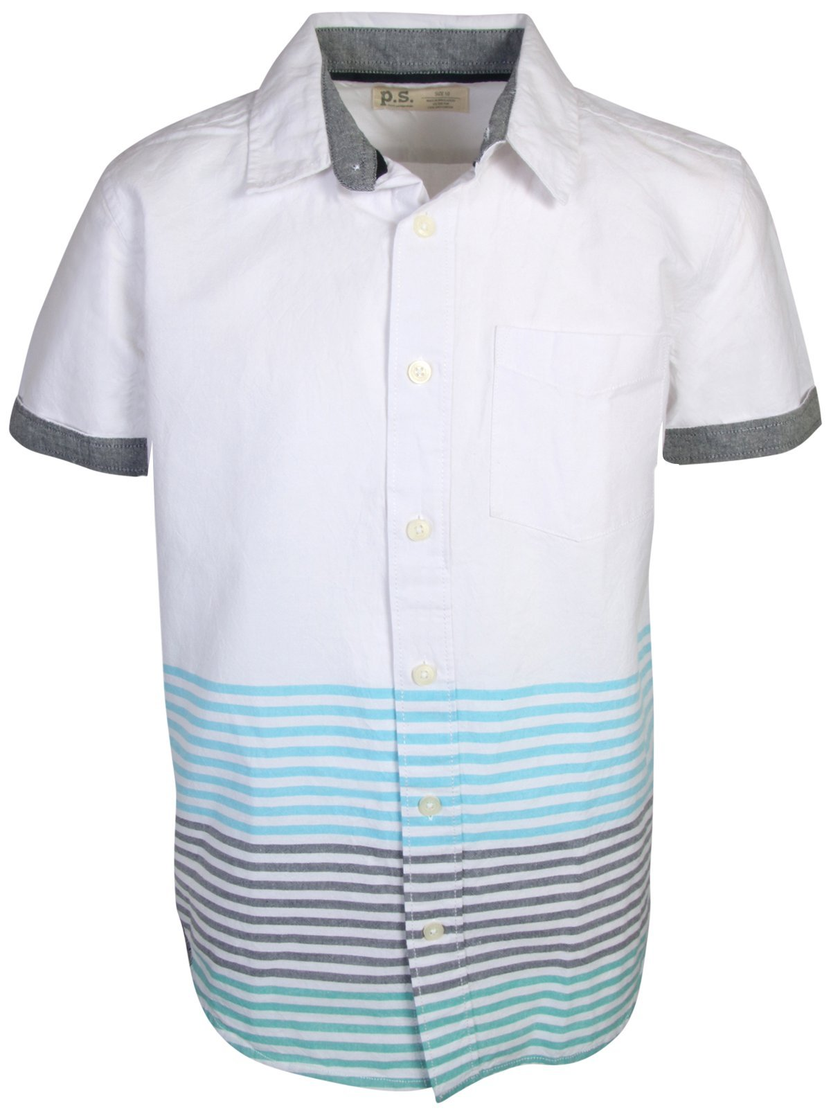 p.s. from aeropostale Boys Short Sleeve Button Down Woven Shirt, White/Blue Stripes, Size 10''