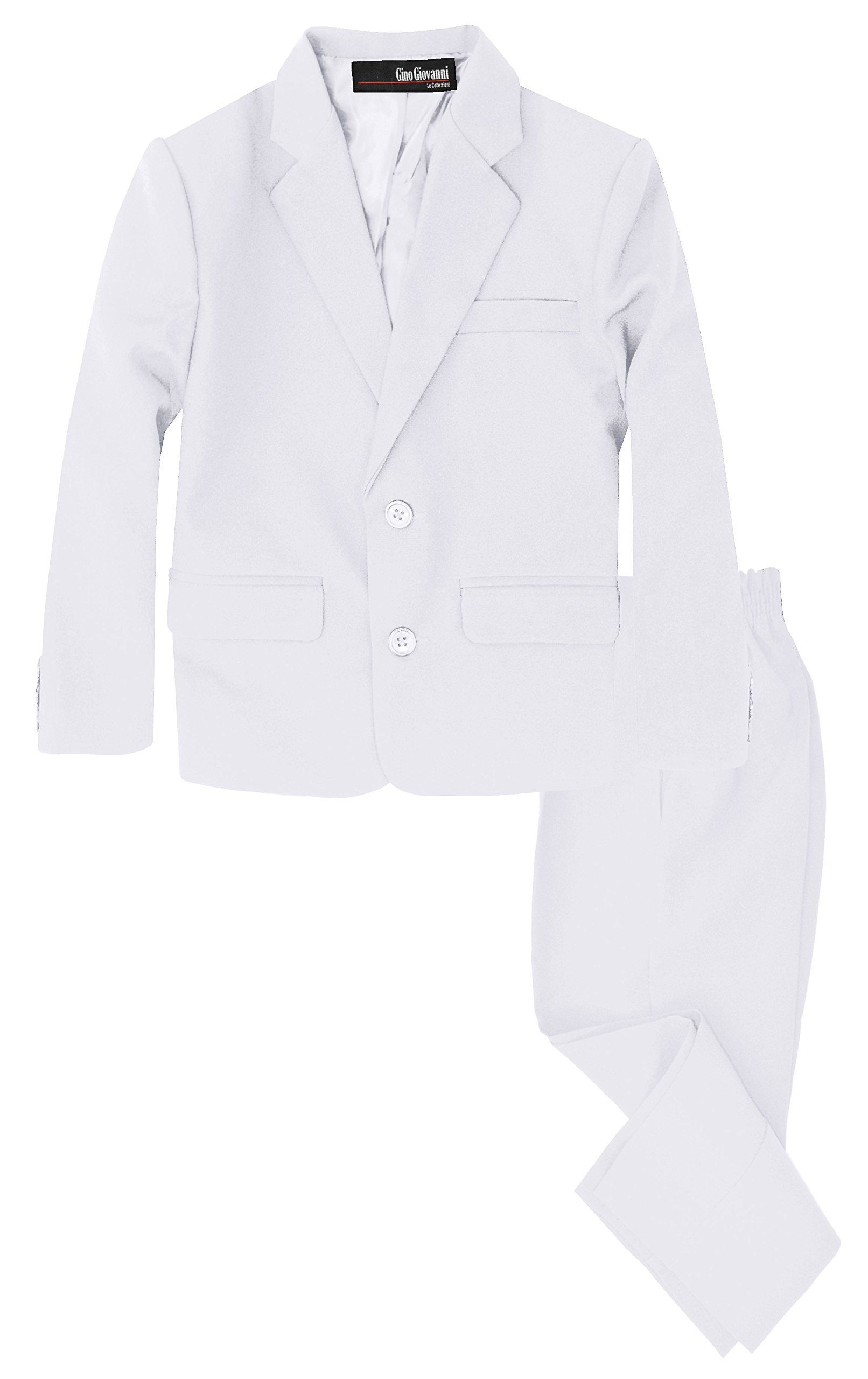 G218 Boys 2 Piece Suit Set Toddler to Teen (7, White) by Gino Giovanni