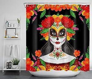 LB Day of Dead Shower Curtain Dia de Los Muertos Spanish Sugar Skull Shower Curtains Hooks Make up Artist Girl Red Rose Bathroom Curtain Set Decor,70x70 Inch Waterproof Fabric