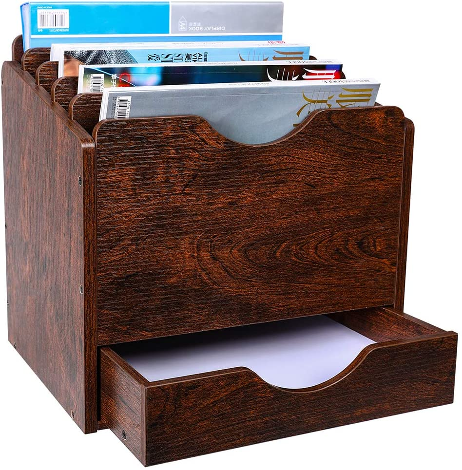 PAG Wood Desktop File Holder Organizer Mail Sorter with Drawer, for File Folders, Mails, Envelopes, Mailing Supplies or Magazines, 6 Compartments, Brown