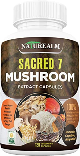 Sacred 7 Organic Mushroom Extract Capsules – Lion s Mane, Chaga, Reishi, Cordyceps, Turkey Tail, Maitake, Shiitake Immunity Supplement – Real Mushrooms, No Fillers – 120 Veggie Caps