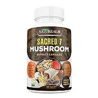 Sacred 7 Organic Mushroom Extract Capsules - Lion's Mane, Chaga, Reishi, Cordyceps, Turkey Tail, Maitake, Shiitake Immunity Supplement - Real Mushrooms, No Fillers - 120 Veggie Caps