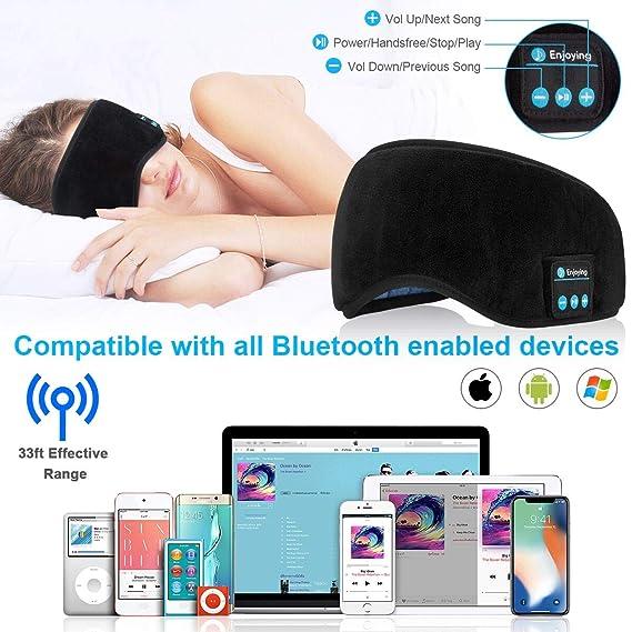 Auriculares Bluetooth,Auriculares inalámbricos máscara de Ojo Cascos Bluetooth inalámbricos Máscara para Dormir Eye Mask Estéreo Auriculares con Micrófono ...