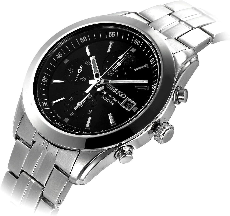 Seiko Men s SNDA87 Chronograph Black Dial Stainless Steel Watch