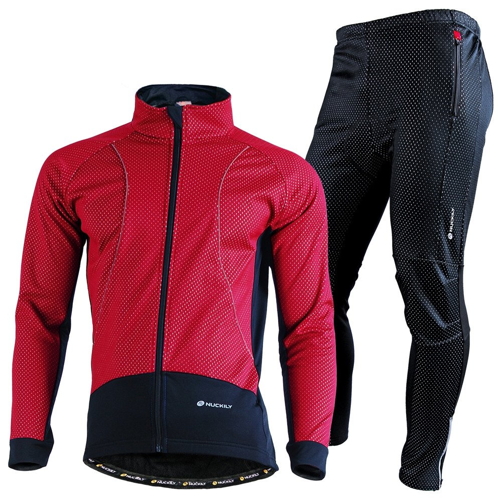 NUCKILY Men's Windproof Outdoor Breathable Polyester Cycling Sports Jacket Suit