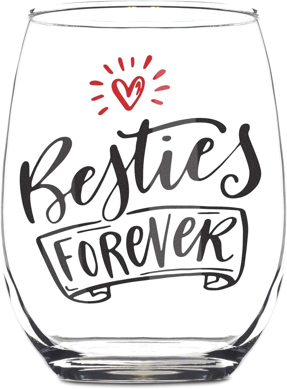 Amazon Com Besties Forever 15oz Stemless Wine Glass Bff Gifts Best Friend Gifts Best Friends Gifts For Women Bestfriend Gift For Her Bestie Wine Glass Sister