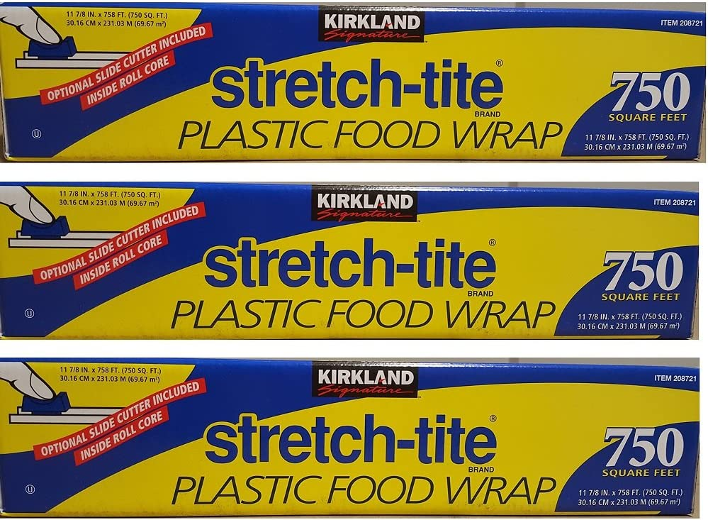 KIRKLAND SIGNATURE Stretch Tite Plastic Food Wrap uZzDke, 3 Packs (750 Sq ft Food Wrap)