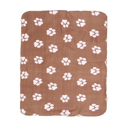 UEETEK Mantas de lana mascota perro Gatos caliente suave mantas de cama con Impresión de pata