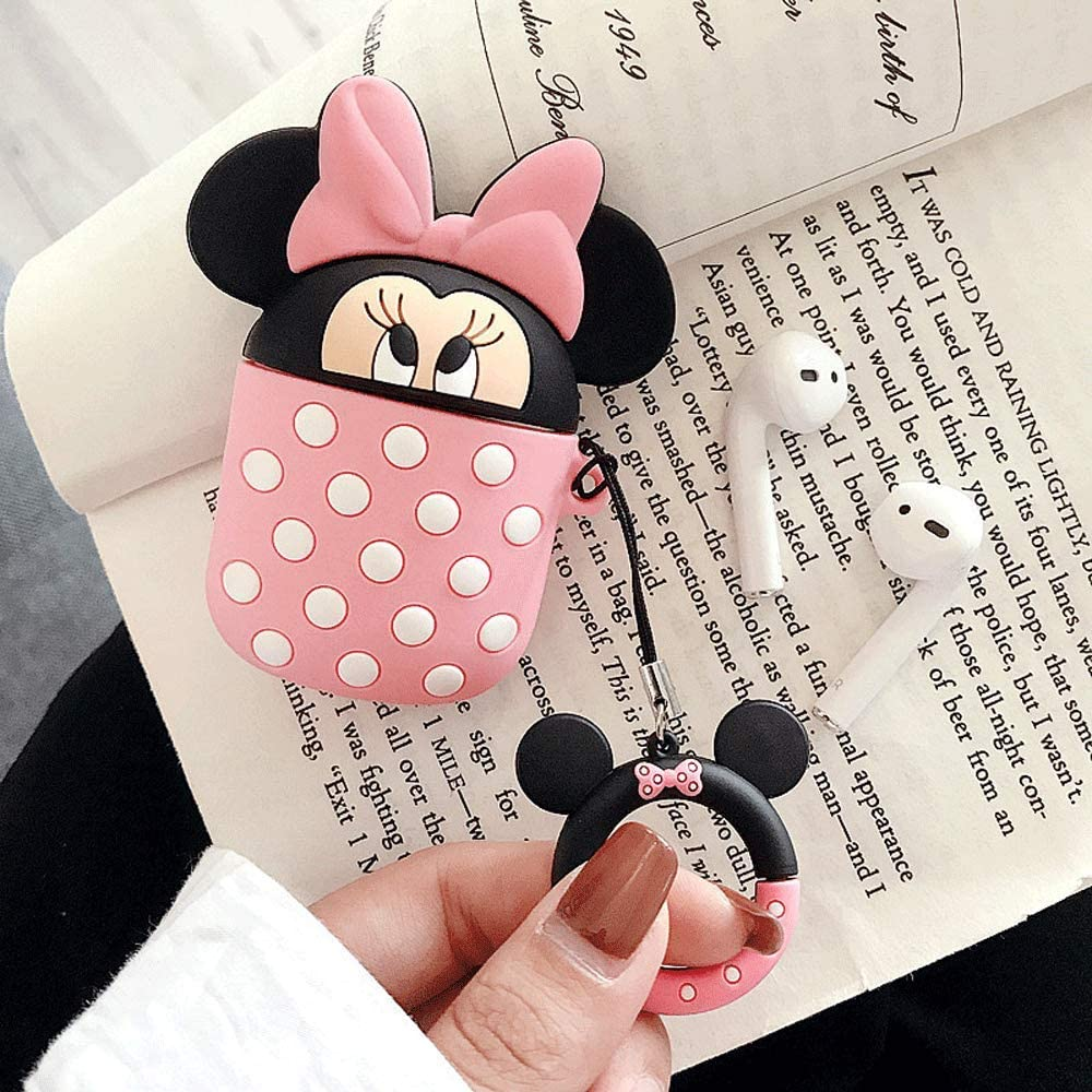 Super Cute Cup-Hiding Cartoon Character Shape Case Cover Fun Soft TPU Silicone Protective Skin for Apple AirPods-Minnie UR Sunshine AirPods Case