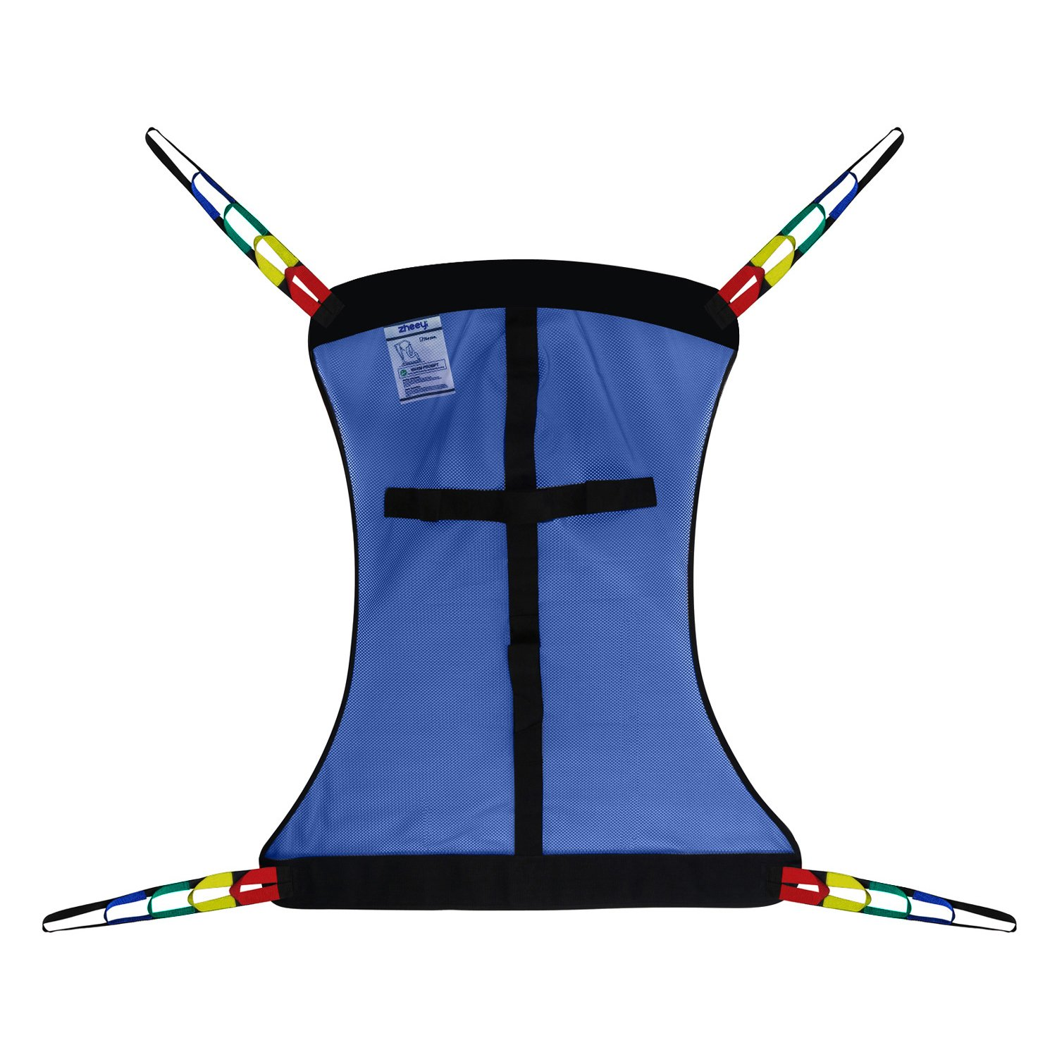 Full Body Patient Lift Sling, Mesh Without Commode Opening, Medium (Blue)
