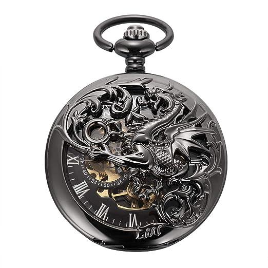 ManChda Reloj de Bolsillo Retro Negro Lucky Dragon Reloj de Bolsillo clásico mecánico Steampunk Fob Reloj para Hombres, Mujeres con Cadena + Caja de Regalo: ...