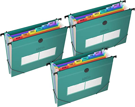 3Pack 21 Pockets Plastic Hanging File Folders Letter Size Accordian File Organizer Expanding File Folder for Filing Cabinet//Accordion File Box Rainbow Paper Document Organizer Retractable Hooks