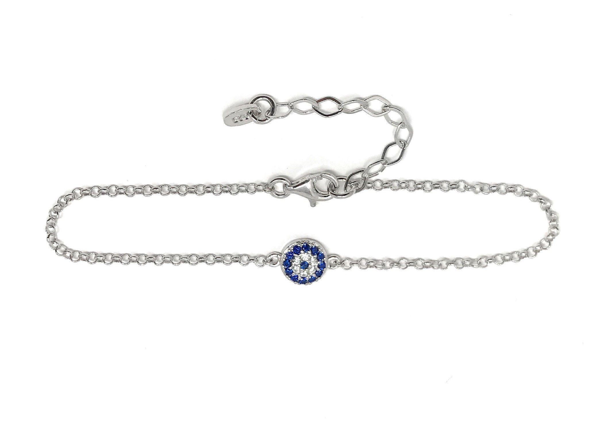 Martinuzzi Evil eye Chain Bracelet Sterling Silver Turkish Little Round Charm Zircon Crystals Good Luck Amulet (Sterling Silver)
