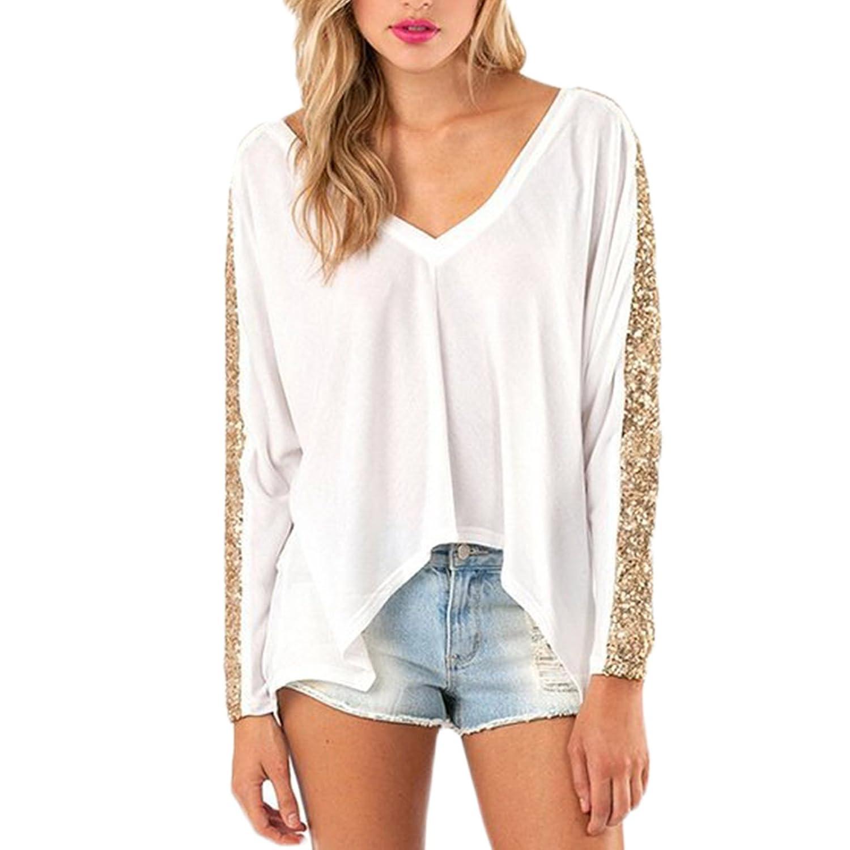Frauen Mode Loose Langarm V-Ausschnitt Paillette T-shirt Top Tops Shirt Shirts Blusen