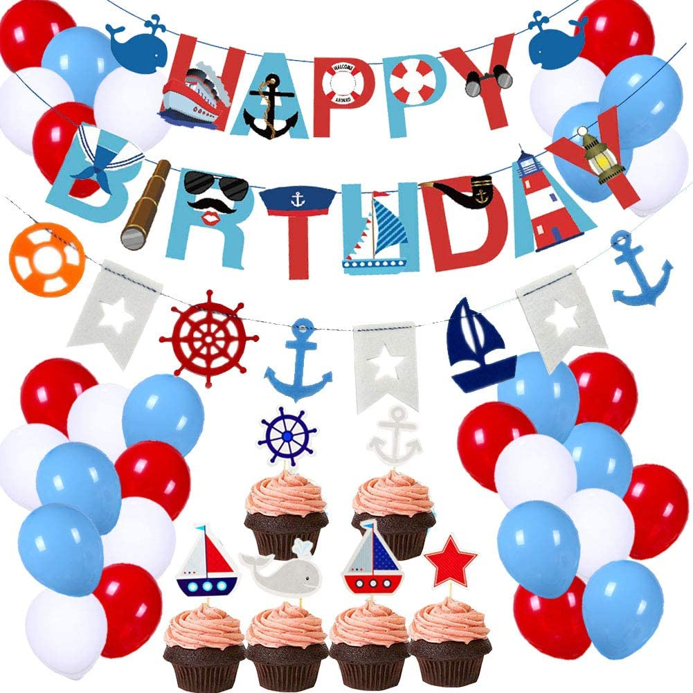 Nautical Anchors and Stripes Birthday Party Custom Banner
