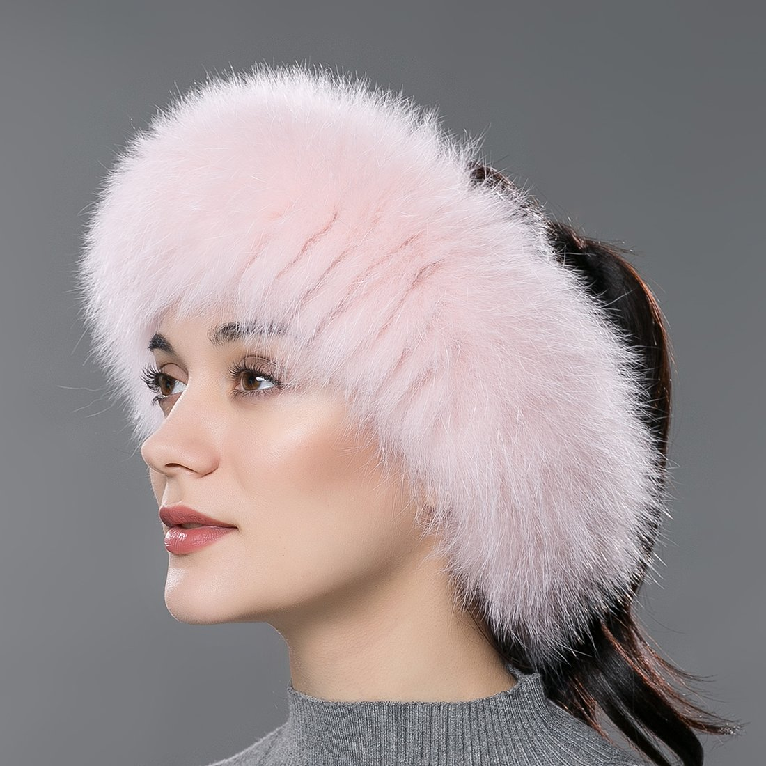 URSFUR Women Fur Headband Real Fox Fur Knitted Scarf Ear Protector White