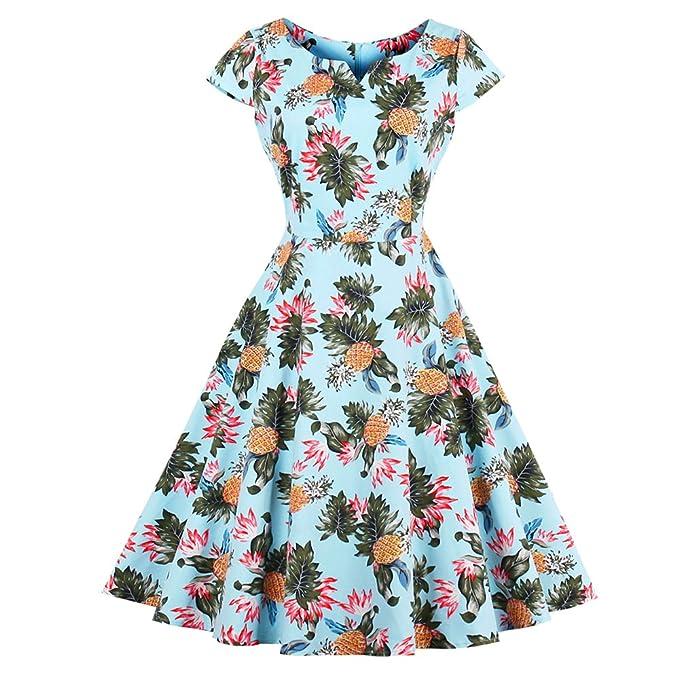 iBaste Vestidos Vintage Mujer Vestido Estampado Piña Floral Sin Manga Estilo del Retro Falda con Vuelo. Pasa el ratón por ...