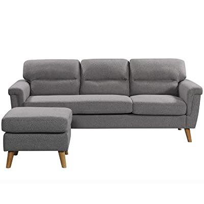 Sectional Sofa Modern,JULYFOX Mid Century L Shape Grey Sectional Sofa Set With Reversible Chaise Lounge Livingroom Couch Modular Linen Fabric For Small Spaces Living Room Grey