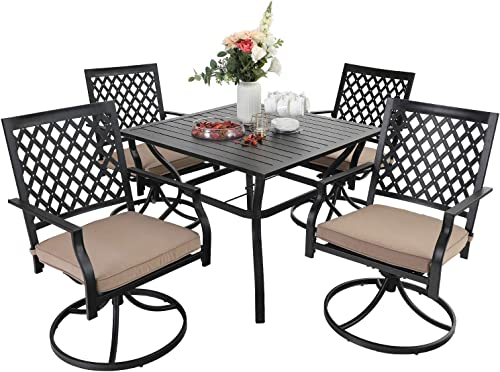 PHI VILLA Patio Dining Set 5 Pieces 1 Metal Square Garden Umbrella Table and 4 Swivel Chairs Support 300 lb