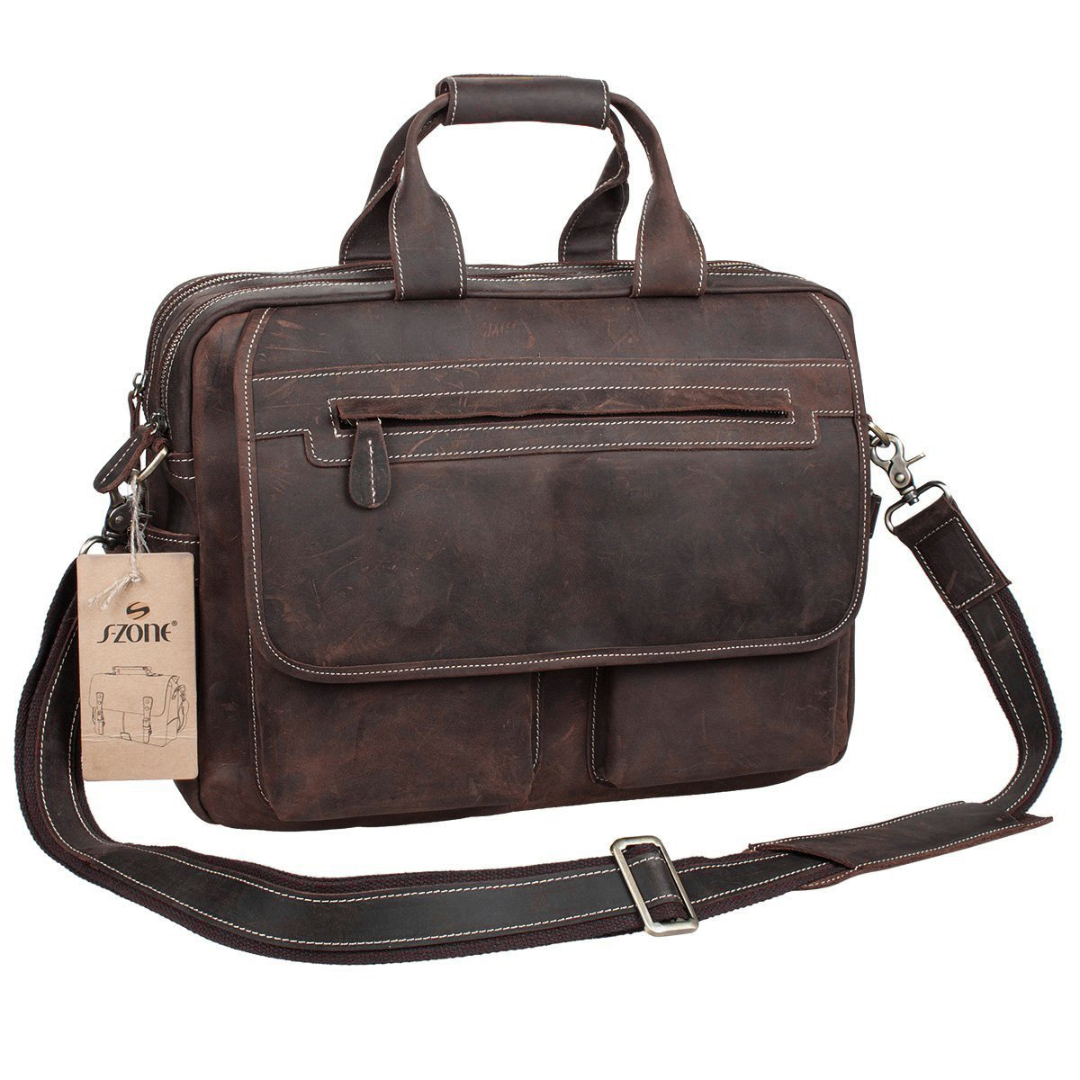 S-ZONE Crazy Horse Leather Shoulder Briefcase for 16 Inch Laptop Bag by S-ZONE (Image #2)