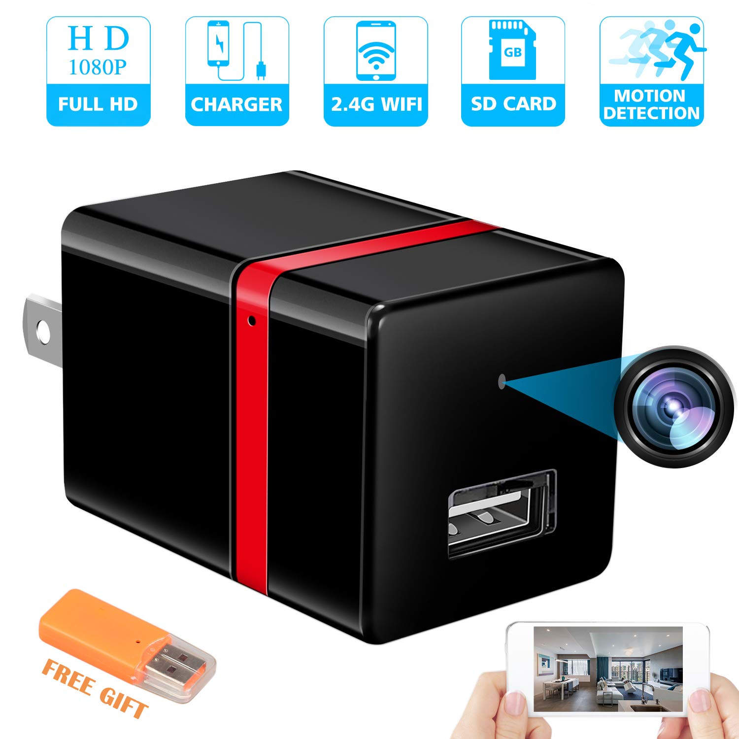 RZATU Spy Camera Wireless Hidden - USB Wall Charger Camera -Nanny Cam with Cell Phone App - Spy Camera WiFi - Home Security - 1080P HD - Motion Detection - Smart Snap Cam by RZATU
