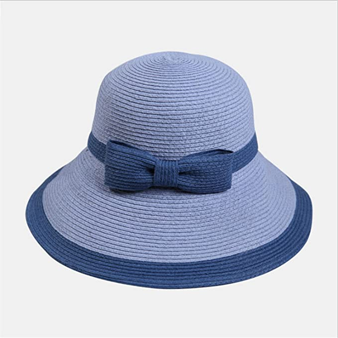8a78318d5be Amazon.com  Big Bow Wide Brim Floppy Summer Hats for Beach Panama Straw  Bucket Protection Visor Femme Cap Weave Foldable Yellow One Size  Clothing