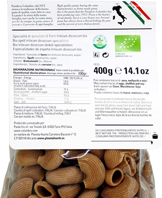 Pasta tipo conchas de espelta ECO Planeta Huerto, 400 g: Amazon.es ...