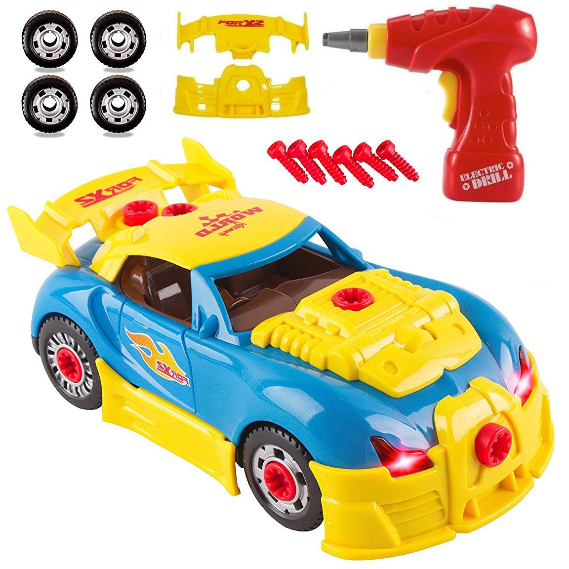 Liberty Imports Kids Take Apart Toys - Build Your Own Racing Vehicle Toy Construction Playset - Realistic Sounds and Lights with Tools and Power Drill (Race Car) by Liberty Imports